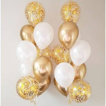 Χρυσά μπαλόνια με Κομφετί με Ήλιον