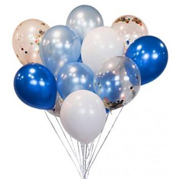 Σύνθεση με Μεταλλικά Μπαλόνια Μπλε - Σιέλ - Λευκά & Κομφετί με Ήλιον