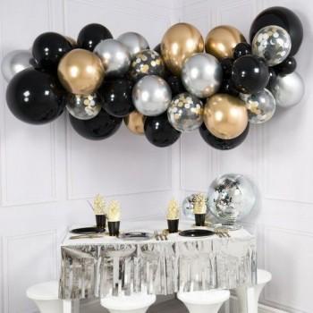 Γιρλάντα μπαλονιών Ασημί - Μαύρο για διακόσμηση χώρου