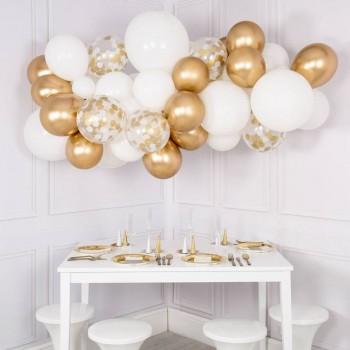 Γιρλάντα μπαλονιών λευκό-χρυσό για διακόσμηση χώρου