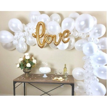Γιρλάντα μπαλονιών love μεταλλικό λευκό